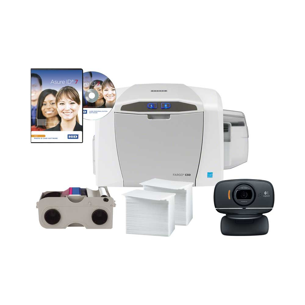 HID Fargo C50 Card Printer - Single Sided Bundle