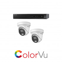 Hikvision 4 Channel ColorVu kit - with 2 x 4mm ColorVu Turrets