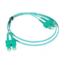 Legrand Fibre Optic Patch Cord - OM4 - LC/LC Duplex - 50/125MU - Multimode - Aqua - 1m