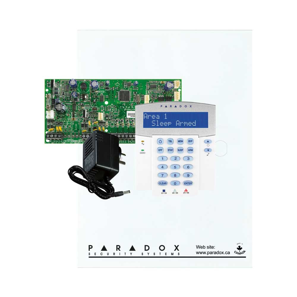 Paradox SP5500 with Small Cabinet, K32LCD Keypad & Plug Pack
