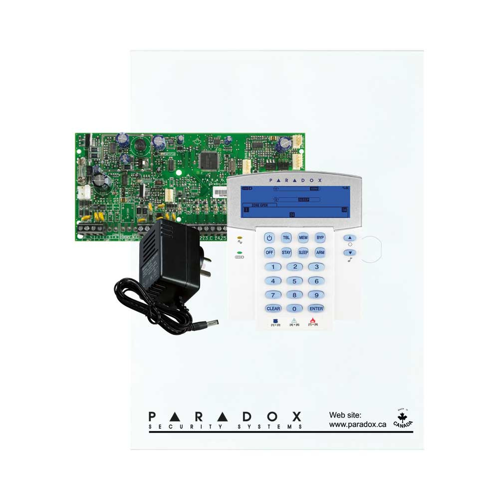 Paradox SP5500 with Small Cabinet, K35 32 Zone Icon Keypad & Plug Pack