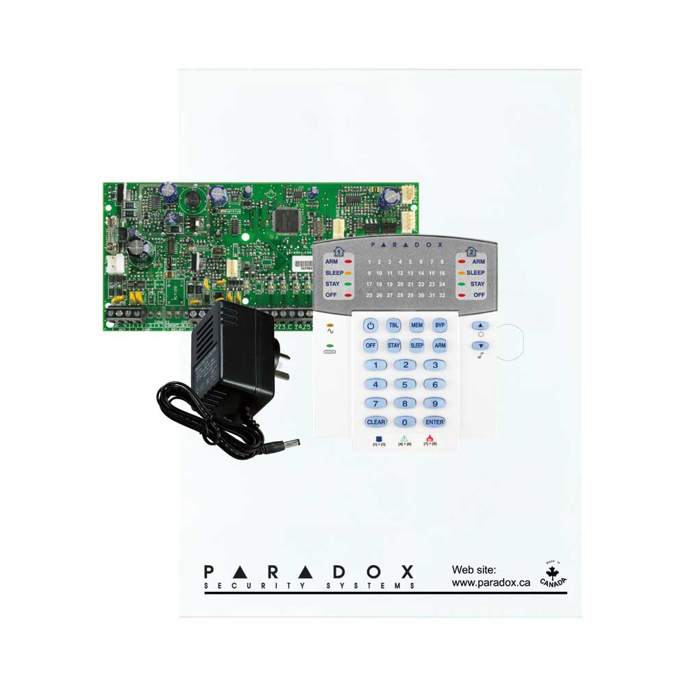 Paradox SP5500 with Small Cabinet, K32 LED Keypad & Plug Pack
