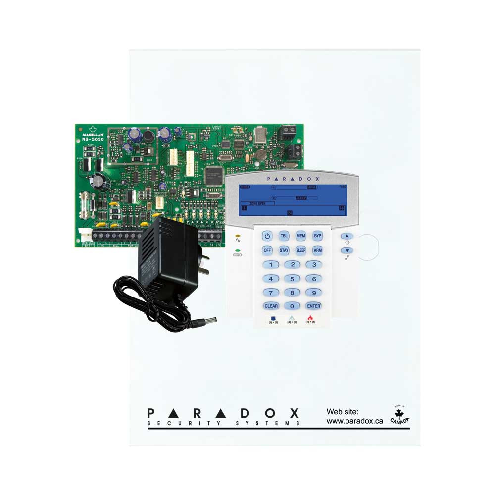 Paradox MG5050 with Small Cabinet, K35 Icon Keypad & Plug Pack