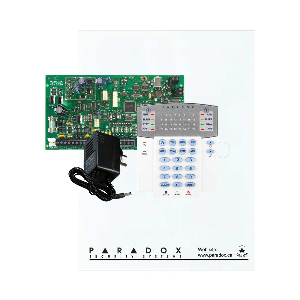 Paradox MG5050 with Small Cabinet, K32 LED Keypad & Plug Pack