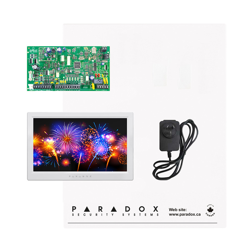 Paradox MG5050 Kit with Small Cabinet, Plug Pack & White TM70