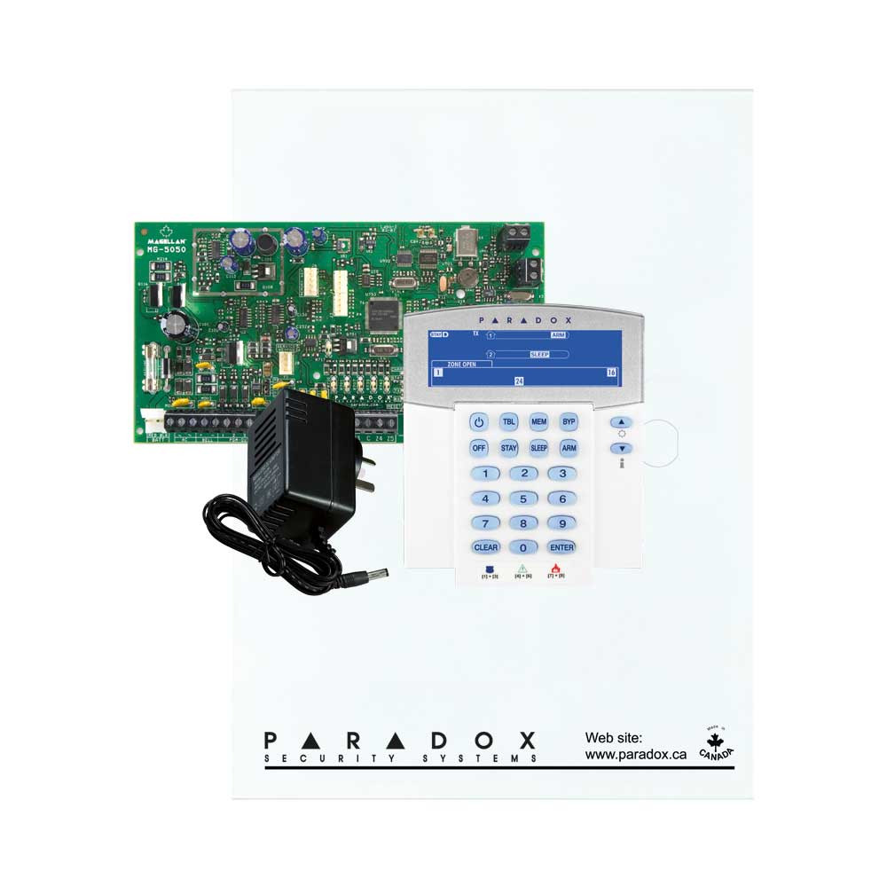 Paradox MG5050 with Small Cabinet, K37 Icon Keypad & Plug Pack