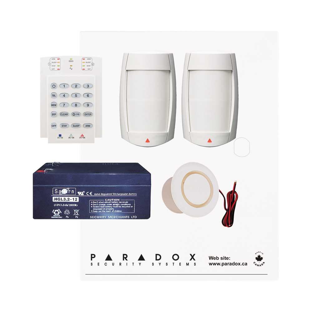 Paradox MG5050 RF DG Kit with Small Cabinet, K10V Keypad, DG75 PIRs & Plug Pack